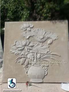 phù điêu hoa sen 34