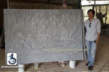 phù điêu Đức Phật nhập  niết  bàn